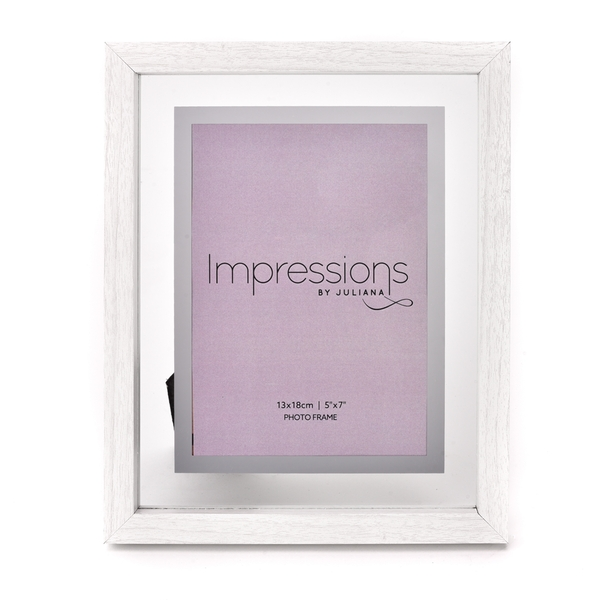 """Impressions White Wooden Frame Perspex Border 5"""" x 7"""""""