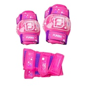 Funbee Girl's Kid's Activities X-Small Wrist Guards, Elbow Pads and Knee Pads Protection Set - Pink/Purple