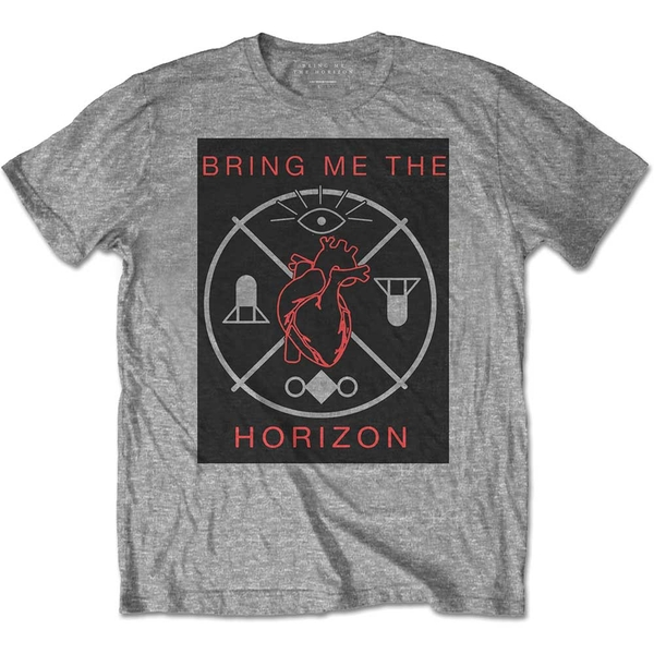 Bring Me The Horizon - Heart & Symbols Unisex Large T-Shirt - Grey