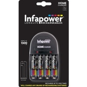 INFAPOWER Home Charger + AA 1300MAH NI-MH Rechargeable Batteries (4-Pack) C001 UK Plug