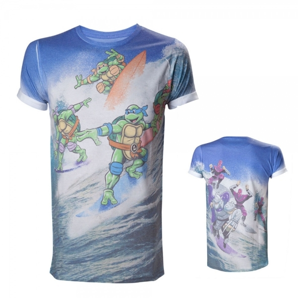 Teenage Mutant Ninja Turtles (TMNT) Surfing Turtles All-Over Sublimation Large T-Shirt