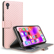 Caseflex iPhone XR Carbon Fibre PU Wallet Case  - Rose Gold