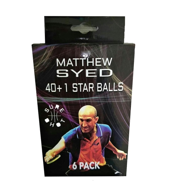 Sure Shot Matthew Syed 1 Star Plastic Table Tennis Balls (Pack of 6)