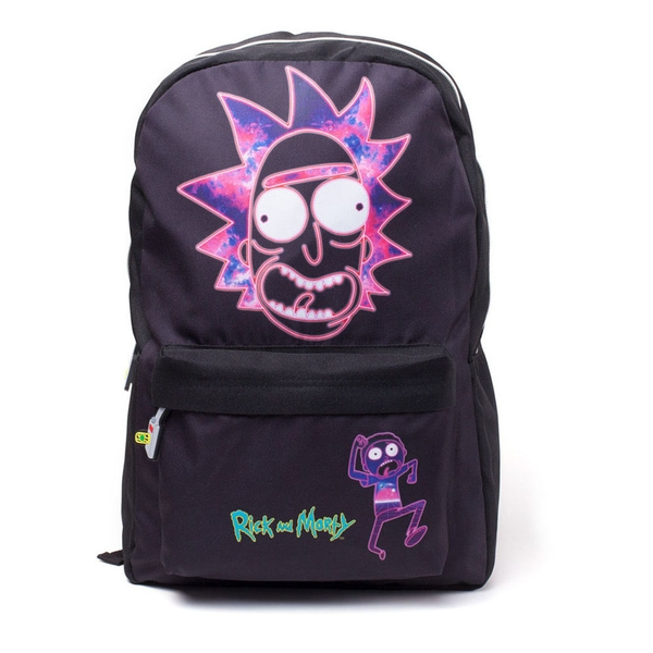 Rick and Morty - Rick's Neon Face Print Backpack - Black