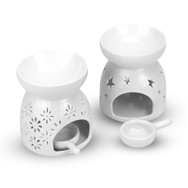 Ceramic Oil Burners - Set of 2 | M&W Star & Flower - Image 1