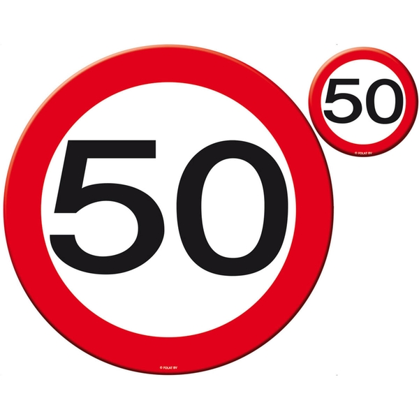 50th Birthday Traffic Sign Placemat and Coasters Set Of 4