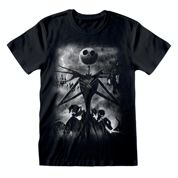 Nightmare Before Christmas - Stormy Skies Unisex XX-Large T-Shirt - Black