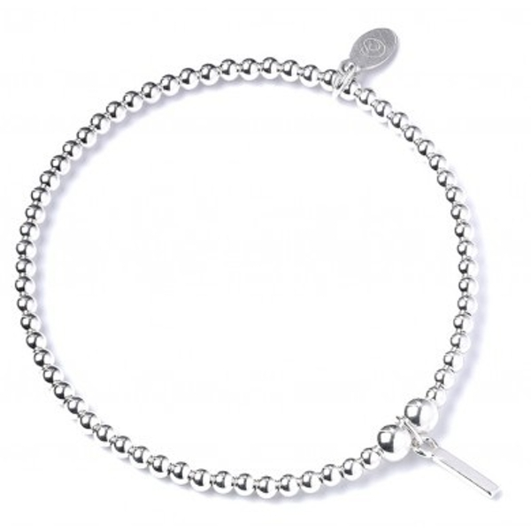 Initial I Charm with Sterling Silver Ball Bead Bracelet