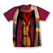 Doctor Who - 4 Doctors Band Women's Large T-Shirt - Maroon Red