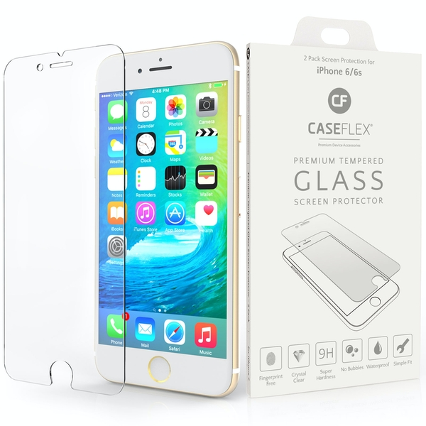 Caseflex iPhone 6 / 6S Glass Screen Protector - 2 Pack (Retail Box) - Image 1