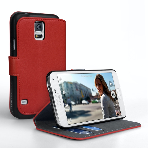 YouSave Accessories Samsung Galaxy S5 Leather-Effect Stand Case - Red