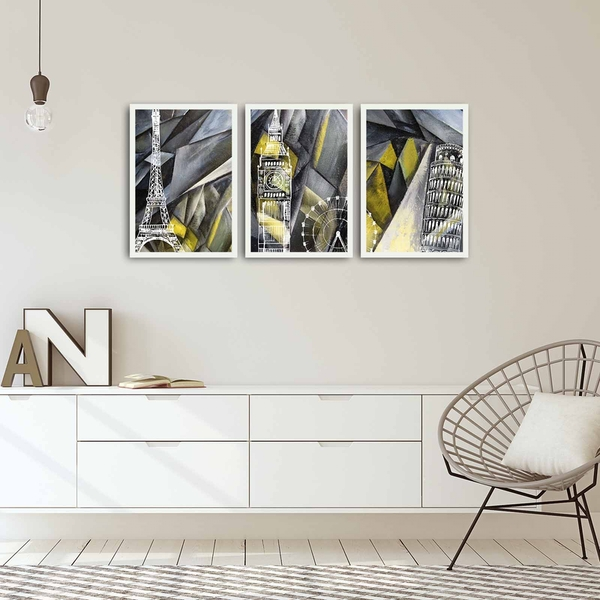3PBCT-03 Multicolor Decorative Framed MDF Painting (3 Pieces)