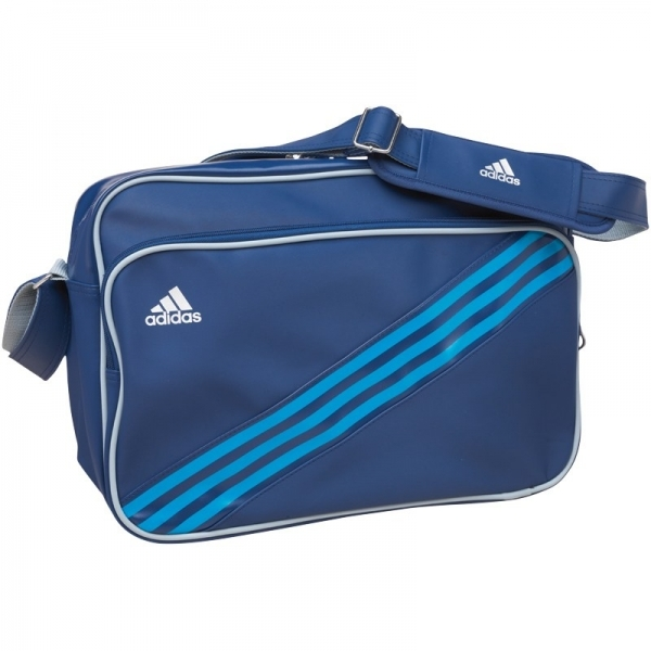 d0449c1318 Adidas 3 Stripe Enamel Messenger Bag Blue   Silver - ozgameshop ...