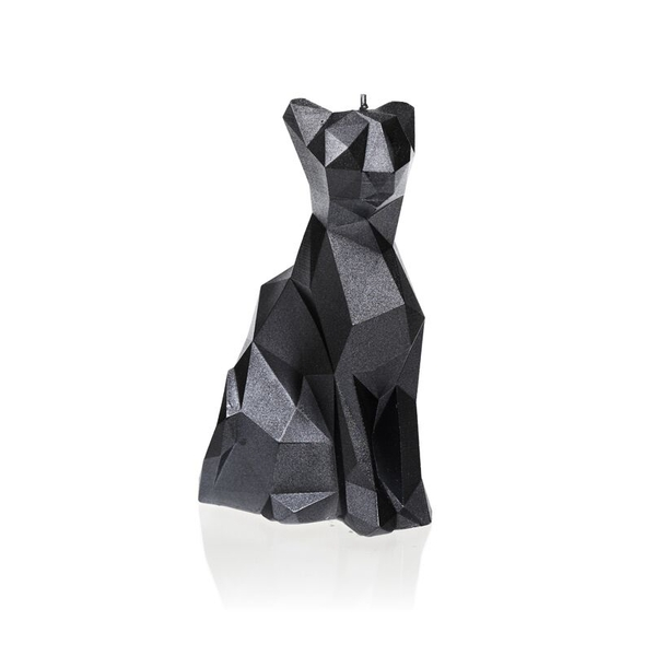 Steel Low Poly Cat Candle