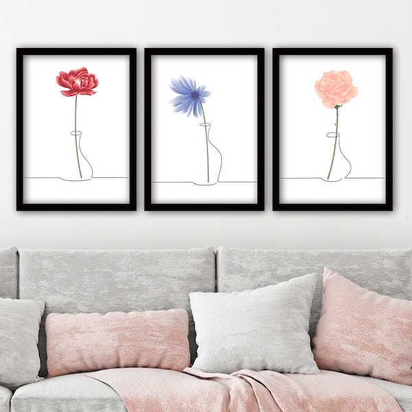 3SC103 Multicolor Decorative Framed Painting (3 Pieces)