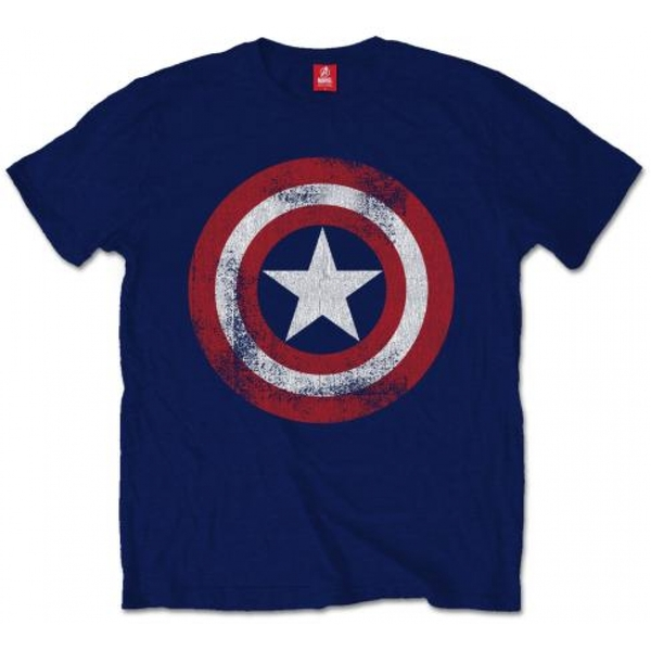 Captain America Distressed Shield Men's Medium T-Shirt - Navy