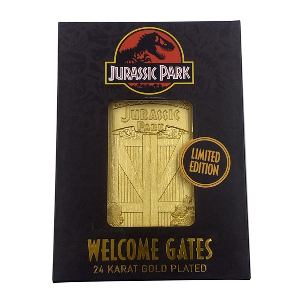 Jurassic Park Metal Entrance Gates Gold Limited Edition Collectable Ingot