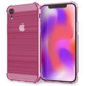 Caseflex iPhone XR Carbon Fibre Effect Gel Case - Pink