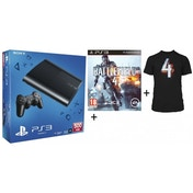 500GB Super Slim Console System Black + Battlefield 4 Game + T-Shirt PS3