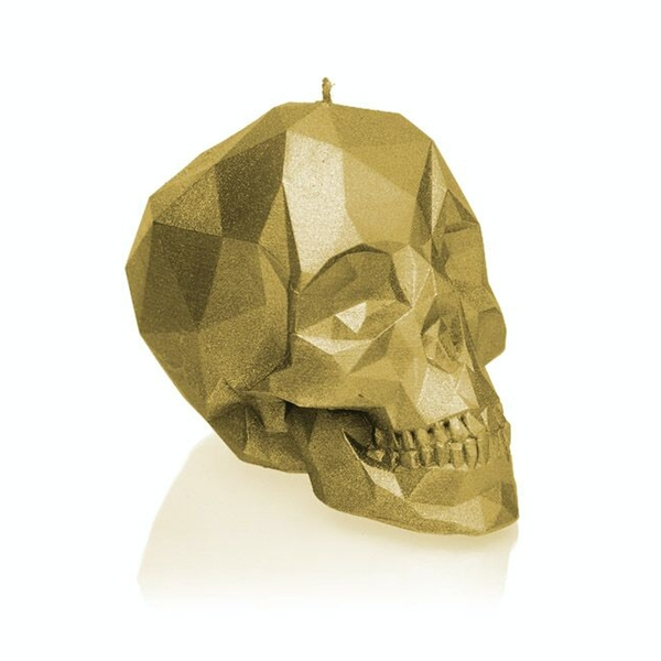 Classic Gold Low Poly Skull Candle