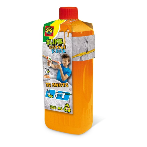 SES Creative - Children's Slime Battle Pack Neon Orange Refill Bottle 750ml (Orange)