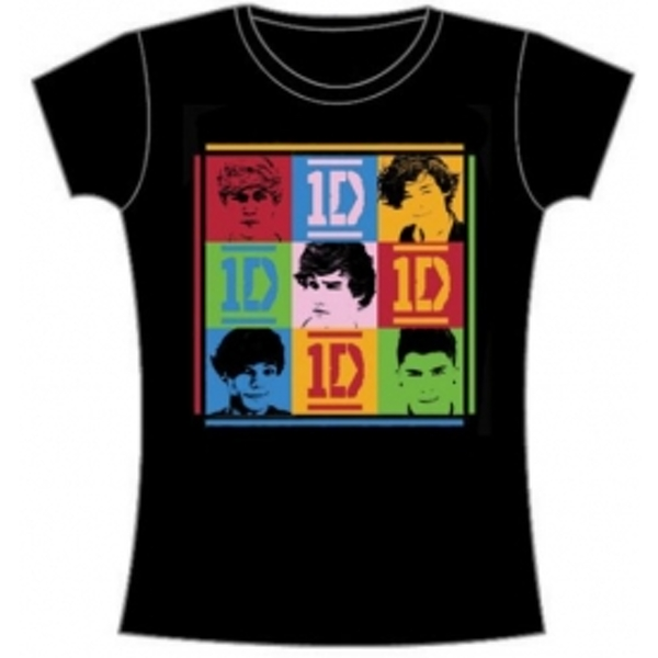 One Direction 9 Squares Skinny Black TS: Small