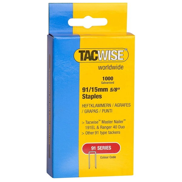Tacwise Tacker Staples (91) 15mm