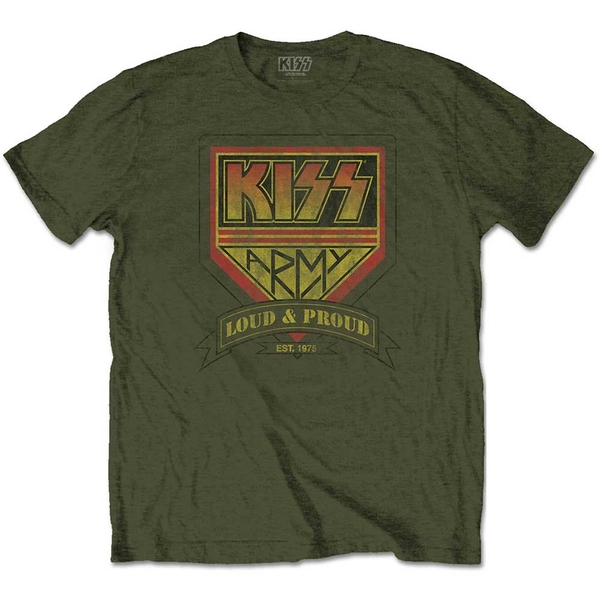 KISS - Loud & Proud Men's Large T-Shirt - Military Green