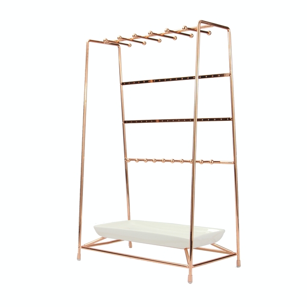 Rose Gold Jewellery Stand with Ceramic Dish