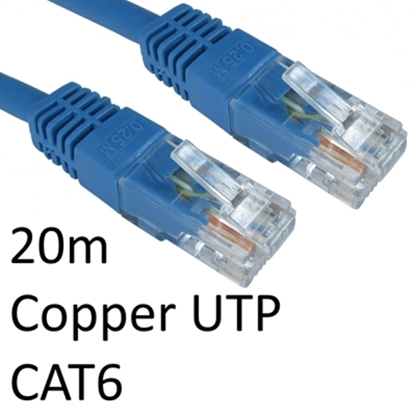 RJ45 (M) to RJ45 (M) CAT6 20m Blue OEM Moulded Boot Copper UTP Network Cable