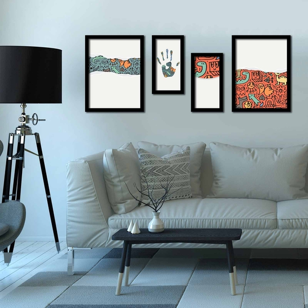 4P3040SCT009 Multicolor Decorative Framed MDF Painting (4 Pieces)