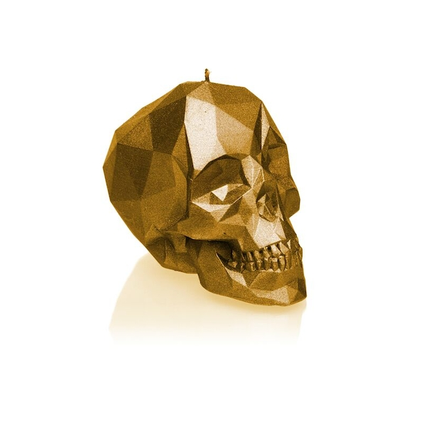 Gold Large Low Poly Skull