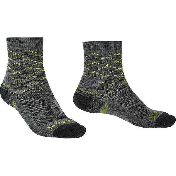 Bridgedale HIKE Lightweight Merino Performance Ankle Pattern Mens -  Large Grey / Lime