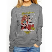 DC Originals - Wonder Woman Xmas Women's Medium Jumper - Grey