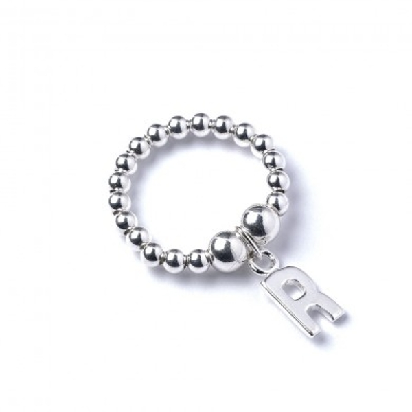 Initial R Charm with Sterling Silver Ball Bead Ring