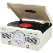 Groov-e Classic Vinyl Record Player with FM Radio & Built-in Speakers Cream