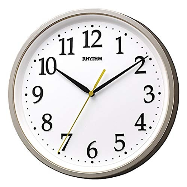 Rhythm Round Wall Clock with 3D Numbers - Silver
