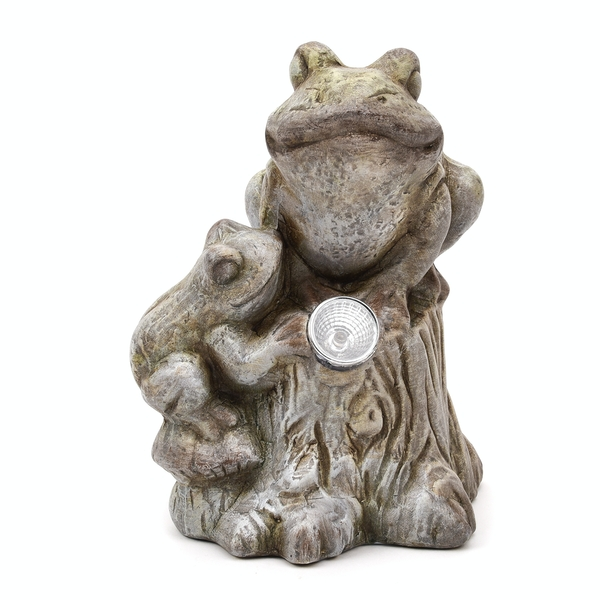 Terracotta Frogs on Branch Ornament with Solar Light Eyes