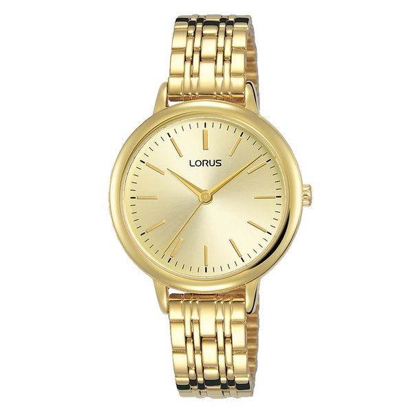 Lorus RG204QX9 Ladies Light Gold Bracelet Watch Featuring a Soft Champagne Dial