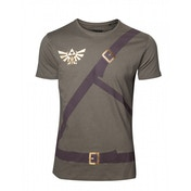 Nintendo Legend of Zelda Men's Link's Shirt with Belts X-Large T-Shirt - Military Green