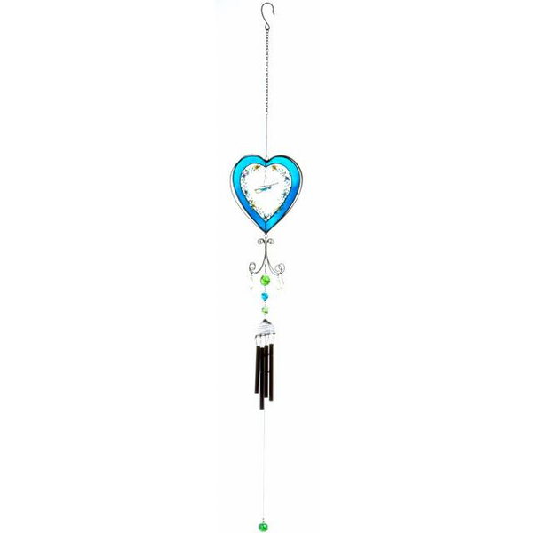 Blue Heart With Butterfly Winchime