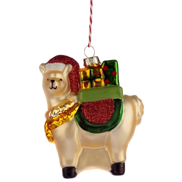 Llama with Present Glass Christmas Bauble Decoration