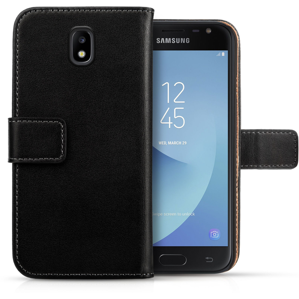 Samsung Galaxy J3 (2017) Real Leather Wallet - Black