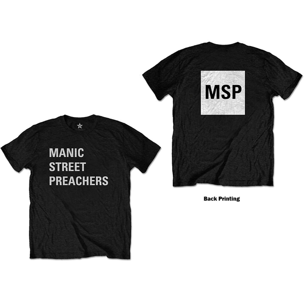 Manic Street Preachers - Block Logo Unisex Medium T-Shirt - Black