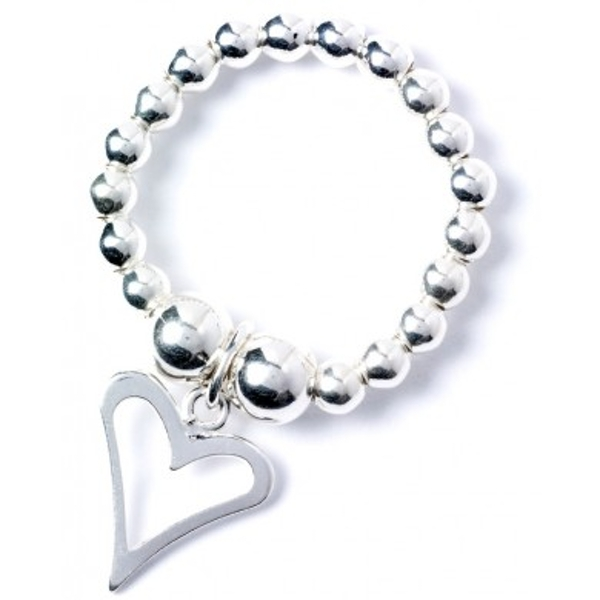 Funky Heart Charm with Sterling Silver Ball Bead Ring