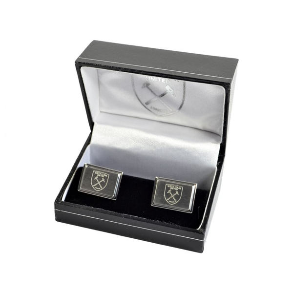 West Ham Stainless Steel Engraved Oblong Crest Boxed Cufflinks
