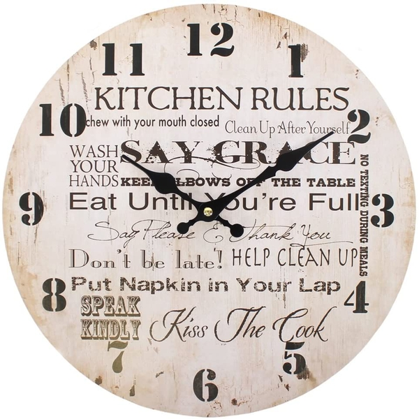Distressed Look Kitchen Rules Wall Clock