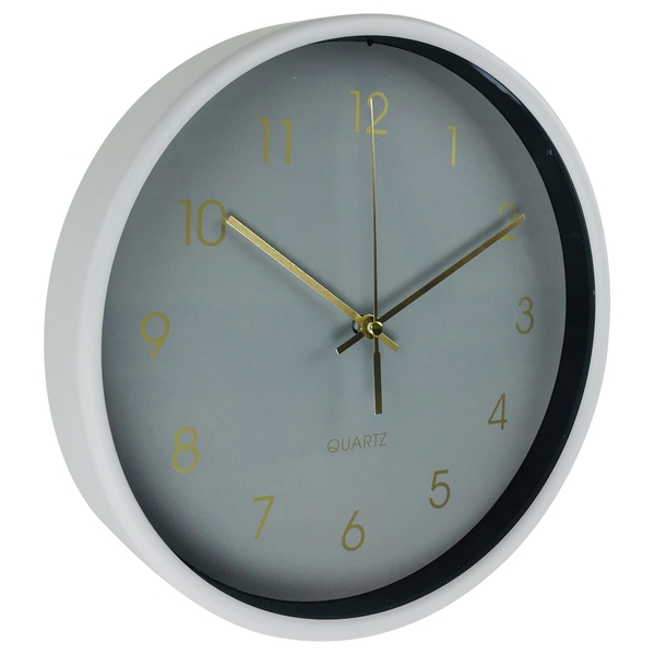 Round Wall Clock In Grey And Gold