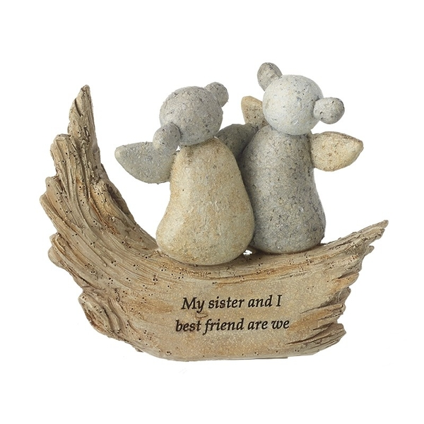 My Sister and I Angels Resin Stone Ornament by Heaven Sends