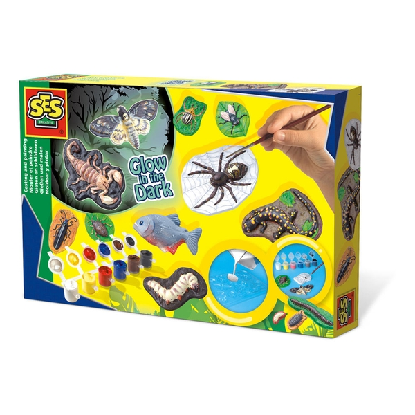 SES Creative - Children's Scary Animals Glow-in-the-Dark Casting and Painting Set (Multi-colour)